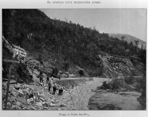 Detalj sa gradnje pruge 1905 godine Dub